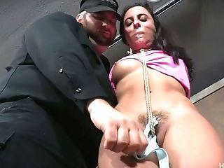 BDSM, Bondage, Boobless, Brunette, Close Up, Dungeon, Glasses, Hairy, Nerd, Panties,