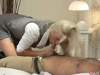 Bedroom, Blonde, Blowjob, Close Up, Couple, Cum, High Heels, Kathy Anderson, Licking, Long Hair,
