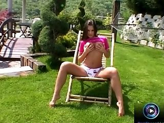 Babe, Eve Angel, Huge Dildo, Model, Natural Tits, Outdoor, Pussy, Solo,