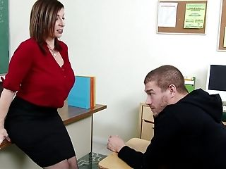 American, Big Tits, Bobcat, Boy, Classroom, College, Desk, Lingerie, MILF, Mom,