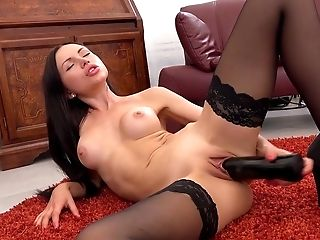 Babe, Brunette, Close Up, Couch, Dildo, HD, Huge Dildo, Masturbation, Moaning, Sasha Rose,