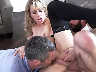 Blowjob, Cheating, Couch, Cowgirl, Cuckold, Cum In Mouth, Cumshot, Facial, HD, Homemade,