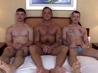 Bareback, Big Cock, Blowjob, Group Sex, HD, Hunk, Military, Threesome,
