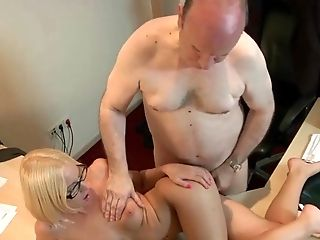 Blonde, Couple, Cum, Cum Swallowing, Doctor, Glasses, Hardcore, Office, Old, Teen Pussy,
